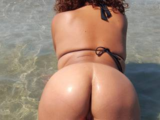 A day at the beach with Jungle Bum.  Down on all fours showing hubby my ass.  Who likes the beach?