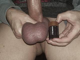 When I save up for three days or so my balls get so huge! Bigger than D batteries. They feel so full and heavy between my legs, it\'s a sexy feeling.