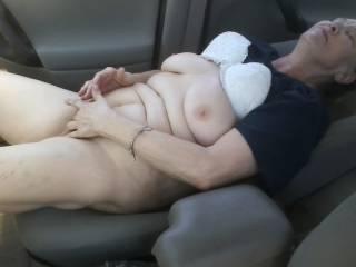 "Jerking my cock to ""Friend"" fingering herself in the car in walmart parking lot"