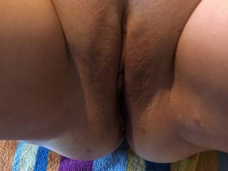 Just shaved her sweet mature pussy. Time to lick it now.