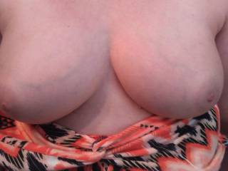 Wife flashing me her gorgeous tits again. I just can\'t get enough of them.