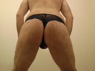 rear view wearing my friends hot thongs