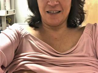 I called Melissa one afternoon at her office and told her that I needed something to get me going.  She went into the restroom there and pulled her titties out and sent me the pic....what a good woman she is!