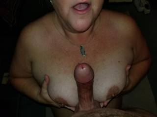 Tit fucking Slave L. Her mouth is next!