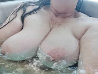 Naked outside in the hot tub. Care to join me?