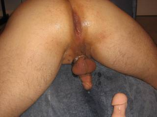 His smooth hole after I fucked him with the 3 headed dildo.
