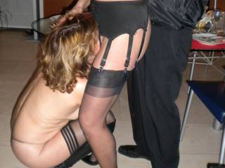 mmm, perfect start! love those long legs in sheer stockings and heels too!