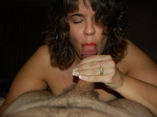 married fuck buddy sucking my cock for dessert after dinner one night