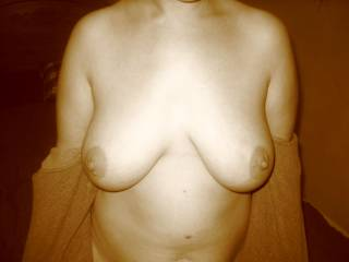 Oh my goodness ! Great wife... big, soft natural tits and huge nipples.. Real feminine body like a Venus !!!