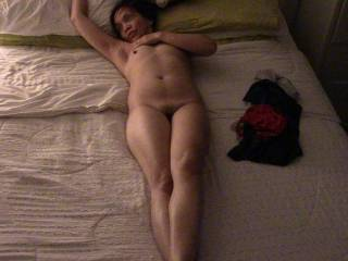 Diana in bed. Waiting....