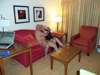 First time meetings are so much fun!  He got naked right away, and when I saw that huge head on his cock I knew my husband did a great job finding this one.  I couldn\'t wait!