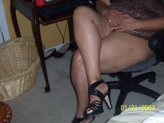 I'll try to get her to spread her legs and show you her sweet wet pussy