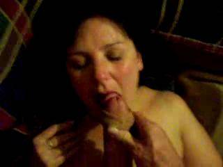 Awesome to see such a hot and local (to me) wife taking a load all over her pretty face!