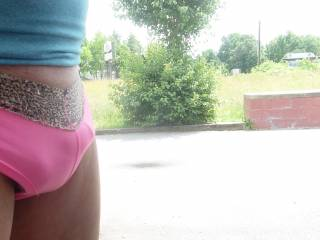 you'd better not let me catch you outside in your pink panties! i'd never turn that lovely cock loose! very pretty picture...