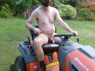 Time to get the lawns mowed while Mrs Redwoods gardens .