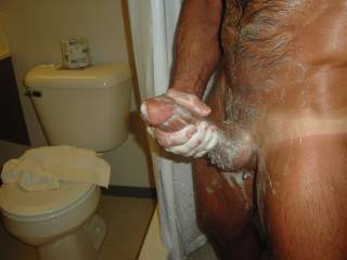 Anything more fun than a hot, soapy shower with another person. Man, women, both! Anyone want my slick, hard dick between their thighs while I reach around and rub your pussy or your cock?