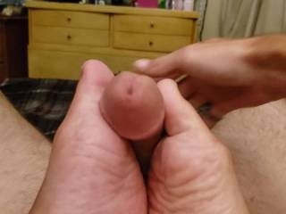 Wifey stroking my huge cock with the sexiest feet.... She made me explode, I missed the video...