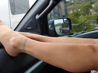 Road Trip! Teasing hubby (and passers) while on the road gets me hot!