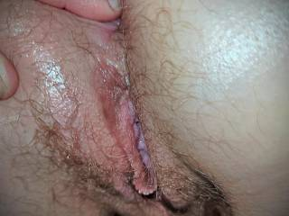 Getting a shot of my all natural milf\'s hairy pussy and ass as begin to  tease her asshole.