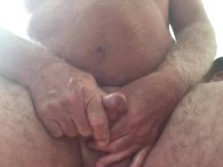Sitting in what I love to call my cum chair 🪑 stroking and squeezing my balls to a nice cum