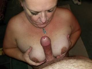 Tit fucking Slave L. after a good face fuck - her mascara is a mess!