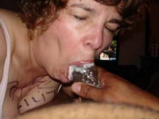 Dam oh yes just how I like my cock sucked off by a hot white wife mmmmm dam she is good mmmmm