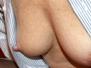 I love the long nipples, do you like to havethem sucked on?  Can you feel how it effects the juices in your pussy and gets you all wet?  Once you tell me how wet you're etting I will start to kiss my way down to your pussy, but I will take my time going down on you, I will kiss your stomach and spend time just above your clit (just to tease you a little), then I will slide down to your pussy and eat you until you cum all over my tounge....  when can I start????
