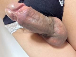 Black panties and penis.