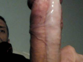 Love to lick that sweet stiff cock's load   as it drips down your shaft and all over your sweet nut sack  WOOF !