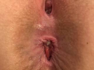 After taking it in the pussy and the ass by hubby and his best friend.  The cum in my ass is from hubby\'s buddy.  Yumm.  I got a double cum shot!