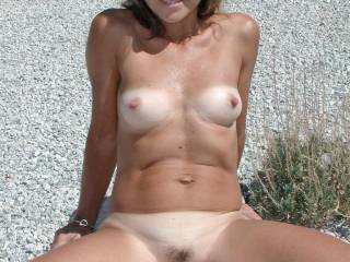 Maria naked in the yard