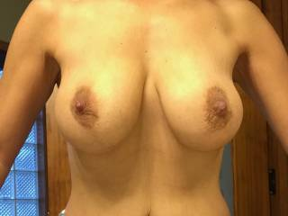 Full on au natural... with hard nipples... you like? Any requests? (Nothing from behind bent over tho, my best side is definitely my front!)