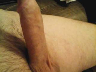 A different view of his hard cock yesterday morning, ready to satisfy. Anyone want to take a ride?