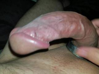 Playing with my big bald cock