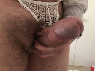 Precum flowing after being turned on by the lace panties!!! please lick it off!!!