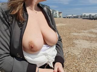 Flashing on a not so hot uk beach lol