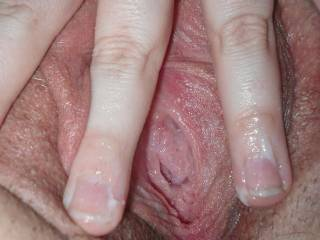 Nice and creamy from fingering myself...my fingers are getting tired tho; does anyone want to take over for me?? Caution: you will get sticky!!