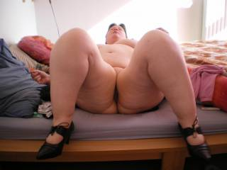 Oh yeah! ... she is built for comfort and I love this ready to fuck pose. I would love to climb aboard and fuck her so hard, that I can hear my balls slamming into her soft ass! Would also love to do her doggy style!