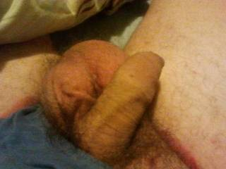 My cock and huge spunk filled balls. Any of you ladies want help me empty them? Or would you like them slapping against your arse as I fuck you?
