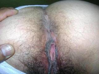 Mmm would love to lick both of your hairy sexy holes.