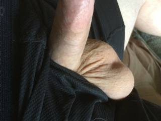 Fresh shaved hard cock and big balls hanging out of my boxers