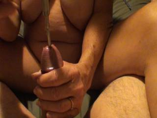 Girlfriend giving me yet another awesome hand job while Sounding my dick with 2 different sized vibrating metal Sounds. Damn those feel so good! The longer one takes my breath away when it reaches my prostate and made me cum. Do you like the view of her?