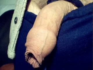 That's a wonderful foreskin, I'd love to take it in my mouth and run my tongue around your head inside it until you came.