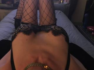 Another great pic of my slut wife waiting in bed dressed for sex