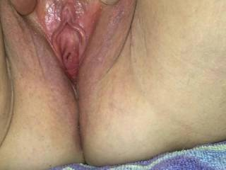 Wife\'s bare trimmed close up pussy.  Showing her clit too.