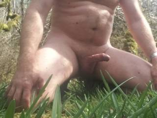 Chilling out in the spring sunshine, love the sun on my body and throbbing hard cock!