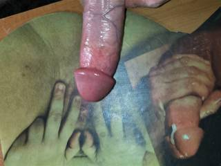 CoupleCreativity sent me a cock tribute to stroke my hard cock and cum on! About to  Jack my hard, throbbing, lubed dick to her wet tasty pussy!