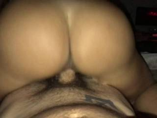 Wife rides me reverse cowgirl.  Love watching her perfect ass ride my cock