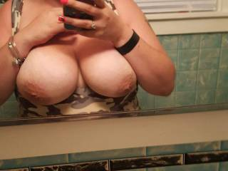 Just giving a little flash to show off my size DD boobs, want to see more??