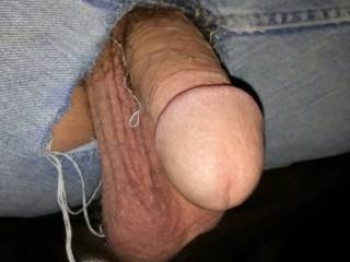 My Cock and Balls hanging out of Jeans
